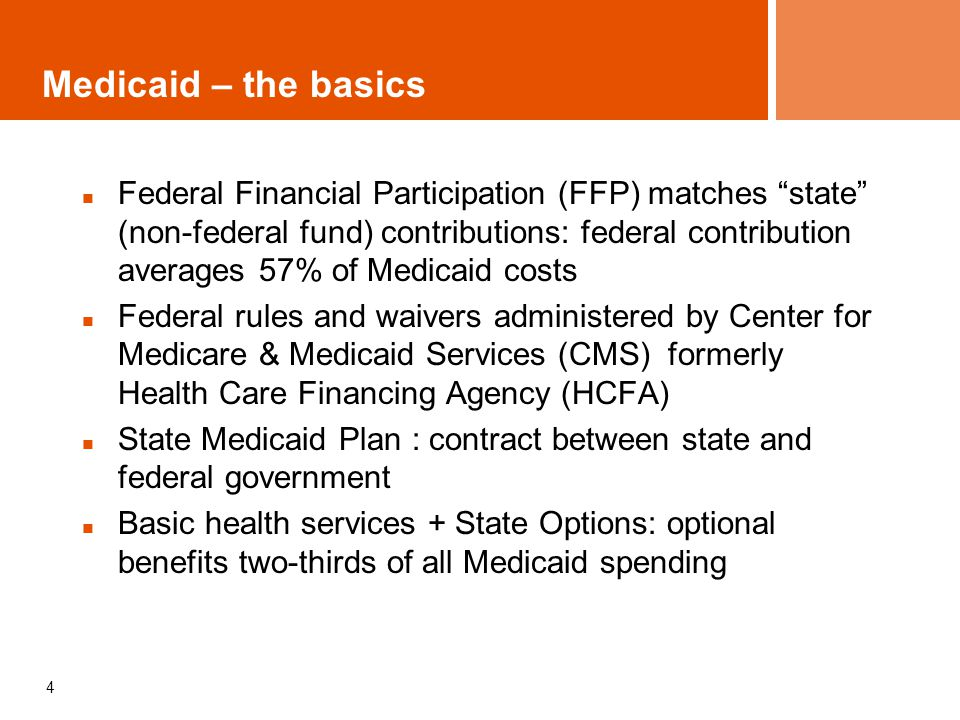 5 State Medicaid Plan Defines: Optional benefits Medical necessity Who is eligible to provide services to be reimbursed under Medicaid Where services must be provided Rate structure (e.g.