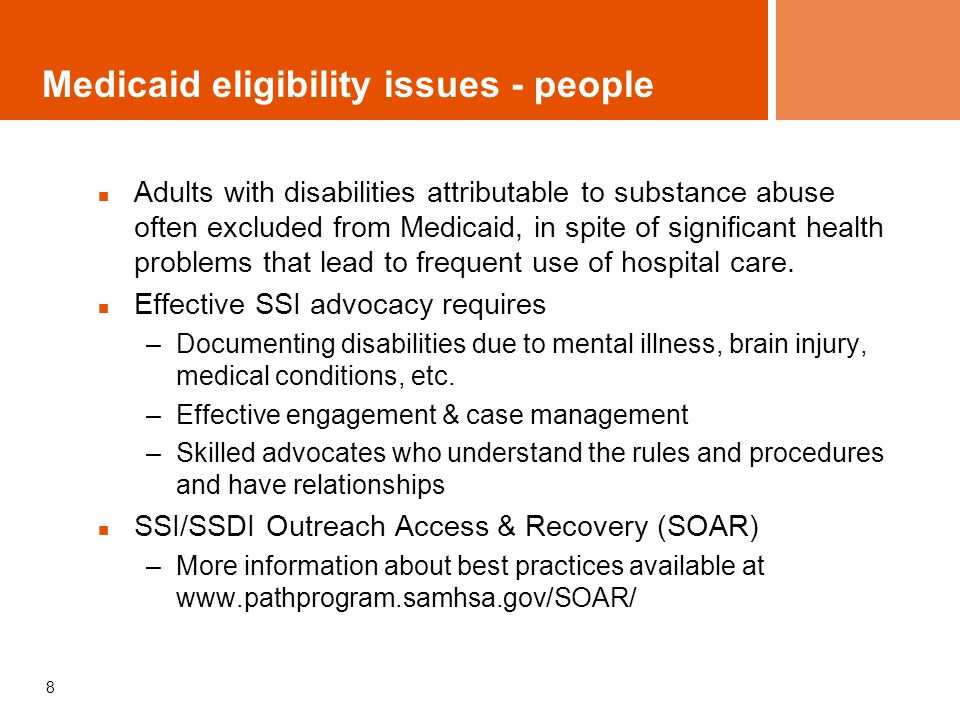 9 Medicaid eligibility - providers Federally Qualified Health Centers (FQHC): Health Care for the Homeless programs and Community Health Centers receive reimbursement based on costs under special rules For other provider organizations and practitioners, state plan determines eligibility to participate and settings where services can be delivered