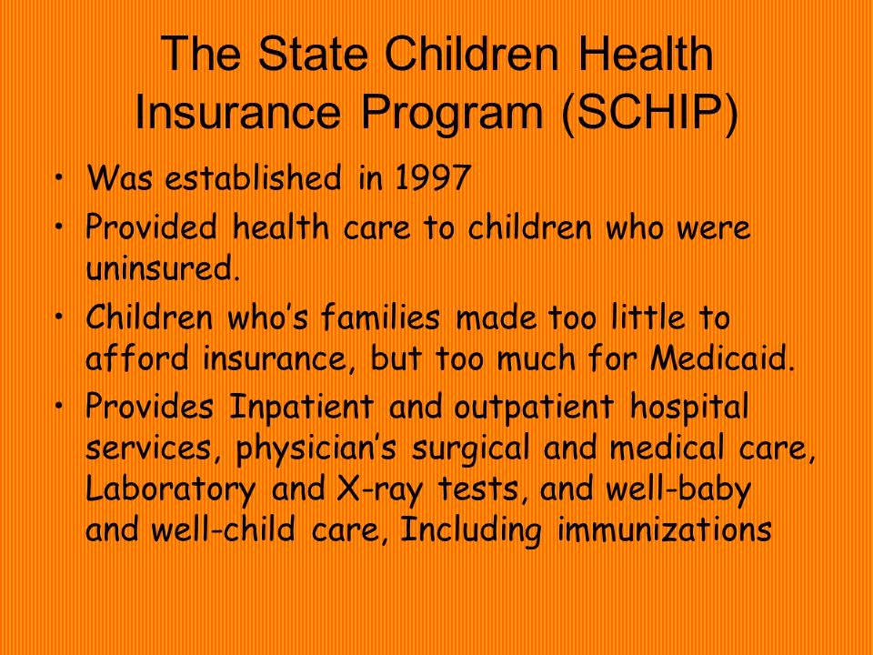 The State Children Health Insurance Program (SCHIP) Was established in 1997 Provided health care to children who were uninsured.