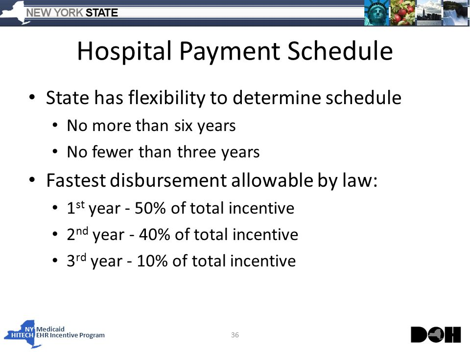 NY Medicaid HITECHEHR Incentive Program Hospital Payment Schedule State has flexibility to determine schedule No more than six years No fewer than three years Fastest disbursement allowable by law: 1 st year - 50% of total incentive 2 nd year - 40% of total incentive 3 rd year - 10% of total incentive 36