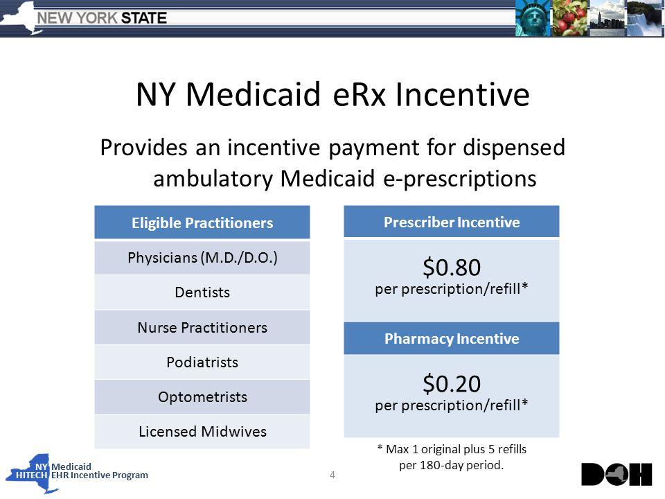 NY Medicaid HITECHEHR Incentive Program NY Medicaid eRx Incentive Provides an incentive payment for dispensed ambulatory Medicaid e-prescriptions 4 Eligible Practitioners Physicians (M.D./D.O.) Dentists Nurse Practitioners Podiatrists Optometrists Licensed Midwives Prescriber Incentive $0.80 per prescription/refill* Pharmacy Incentive $0.20 per prescription/refill* * Max 1 original plus 5 refills per 180-day period.