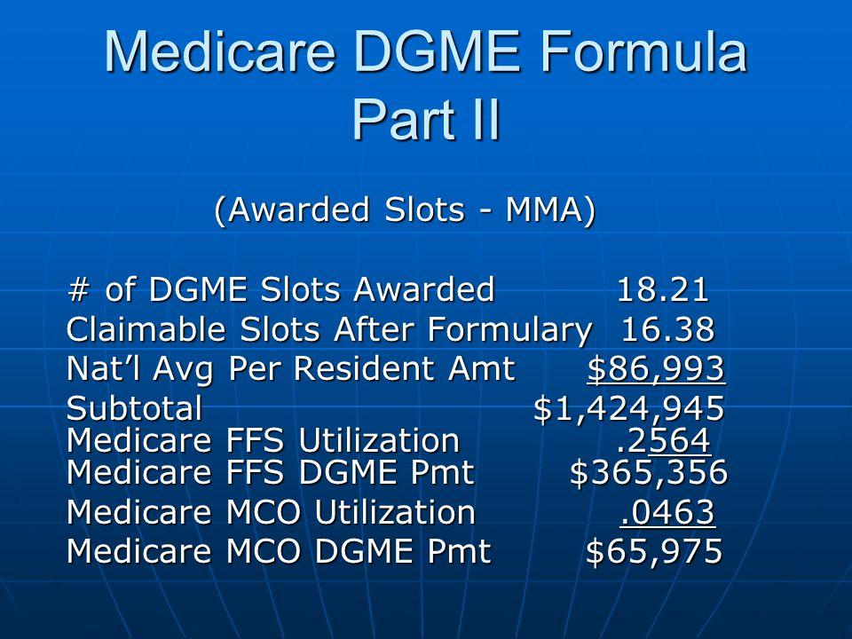 Medicare DGME Formula Part II (Awarded Slots - MMA) # of DGME Slots Awarded 18.21 Claimable Slots After Formulary 16.38 Nat'l Avg Per Resident Amt $86,993 Subtotal $1,424,945 Medicare FFS Utilization.2564 Medicare FFS DGME Pmt $365,356 Medicare MCO Utilization.0463 Medicare MCO DGME Pmt $65,975