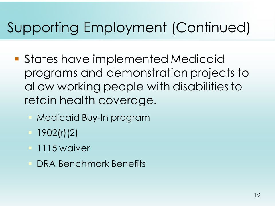 12 Supporting Employment (Continued)  States have implemented Medicaid programs and demonstration projects to allow working people with disabilities to retain health coverage.
