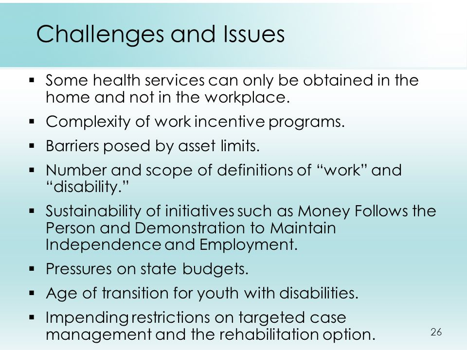 26 Challenges and Issues  Some health services can only be obtained in the home and not in the workplace.