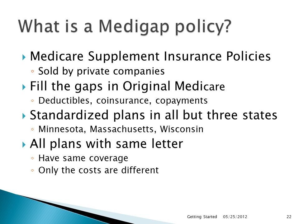  Medicare Supplement Insurance Policies ◦ Sold by private companies  Fill the gaps in Original Medi care ◦ Deductibles, coinsurance, copayments  Standardized plans in all but three states ◦ Minnesota, Massachusetts, Wisconsin  All plans with same letter ◦ Have same coverage ◦ Only the costs are different 05/25/2012Getting Started22