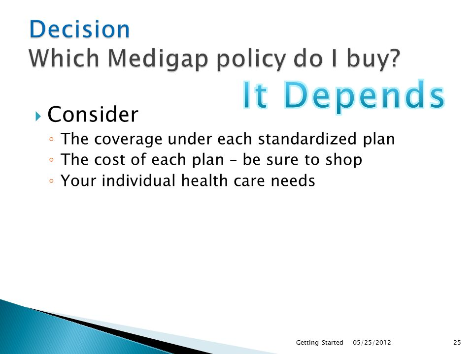  Consider ◦ The coverage under each standardized plan ◦ The cost of each plan – be sure to shop ◦ Your individual health care needs 05/25/2012Getting Started25