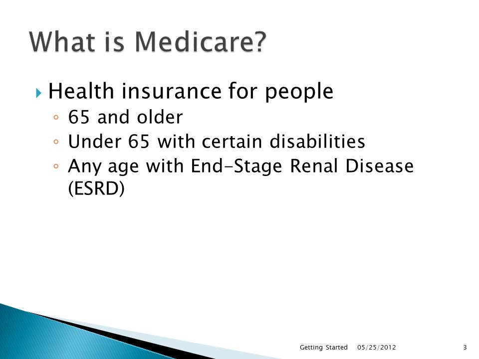  It is Administered by ◦ Centers for Medicare & Medicaid Services (CMS)  But Enrollment is done by ◦ Social Security Administration (SSA) for most ◦ Railroad Retirement Board (RRB) railroad retirees 05/25/2012Getting Started4