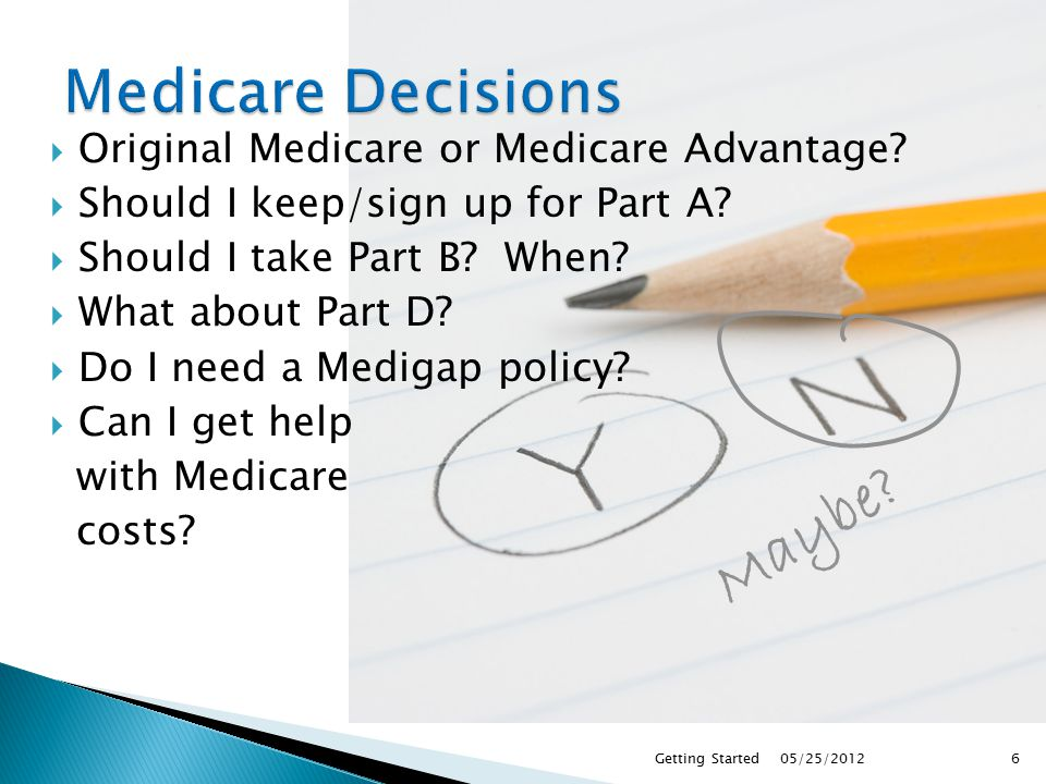  By computer or phone ◦ Call 1.800.MEDICARE (1-800-633-4227)  TTY users should call 1-877-486-2048 ◦ Visit medicare.gov and use the compare tool ◦ Call your State Health Insurance Program (SHIP) 05/25/2012Getting Started27