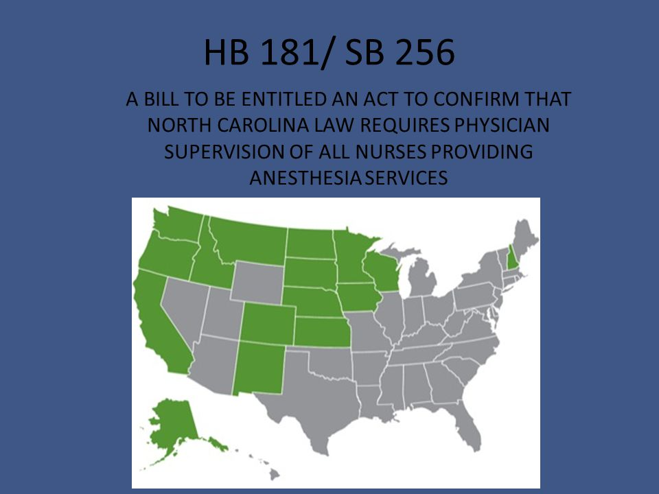 HB 181/ SB 256 A BILL TO BE ENTITLED AN ACT TO CONFIRM THAT NORTH CAROLINA LAW REQUIRES PHYSICIAN SUPERVISION OF ALL NURSES PROVIDING ANESTHESIA SERVICES