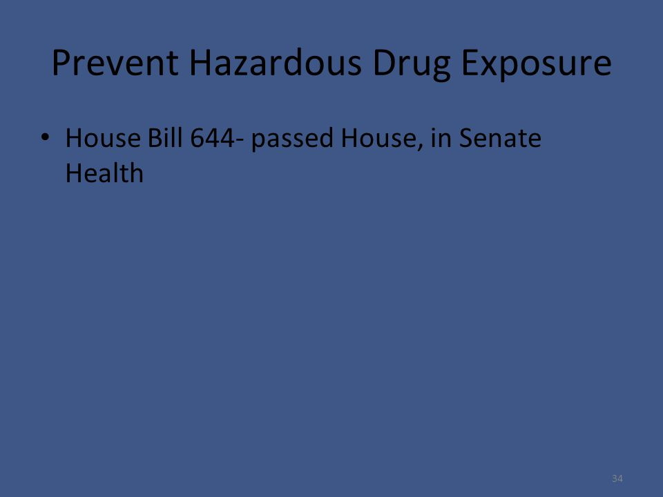 Prevent Hazardous Drug Exposure House Bill 644- passed House, in Senate Health 34