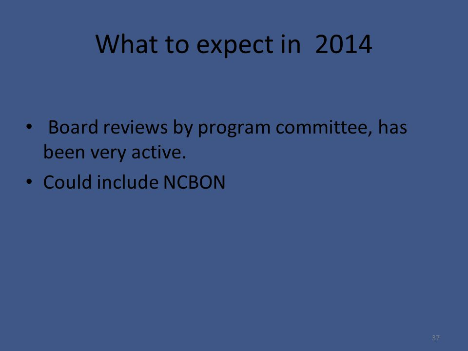 What to expect in 2014 Board reviews by program committee, has been very active.