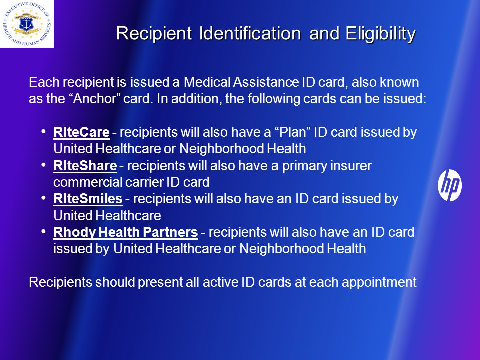 Recipient Identification and Eligibility Each recipient is issued a Medical Assistance ID card, also known as the Anchor card.