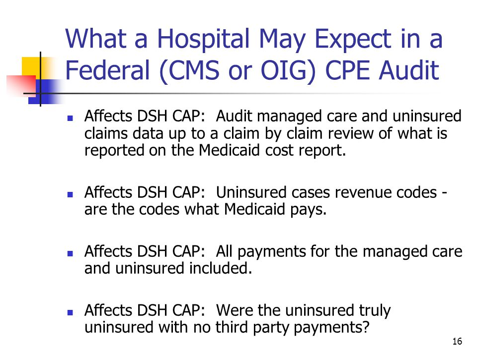 16 What a Hospital May Expect in a Federal (CMS or OIG) CPE Audit Affects DSH CAP: Audit managed care and uninsured claims data up to a claim by claim review of what is reported on the Medicaid cost report.