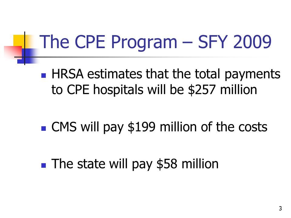 3 The CPE Program – SFY 2009 HRSA estimates that the total payments to CPE hospitals will be $257 million CMS will pay $199 million of the costs The state will pay $58 million
