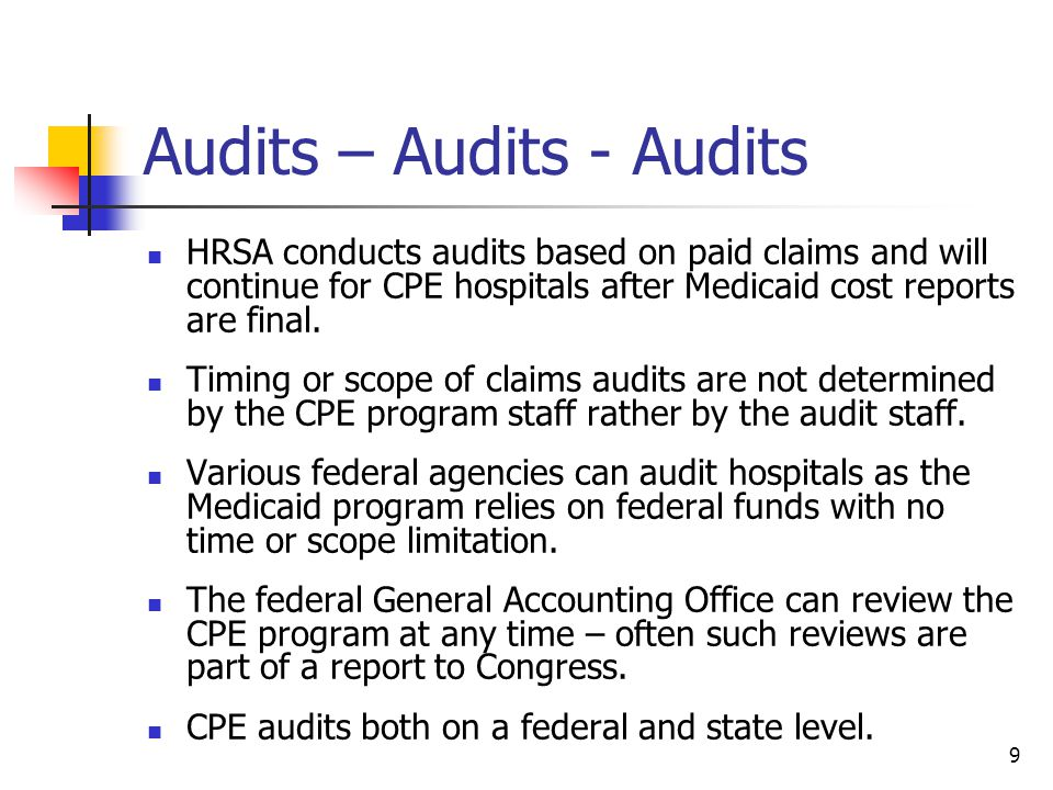 20 How Would Federal Audits Affect CPE Hospitals Any findings would be between CMS and the state, a federal audit would not result in a federal recoupment from the hospital.