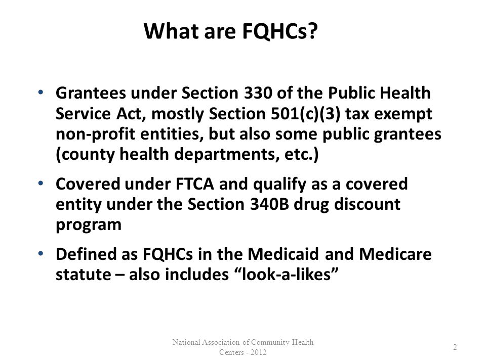 What are FQHCs.