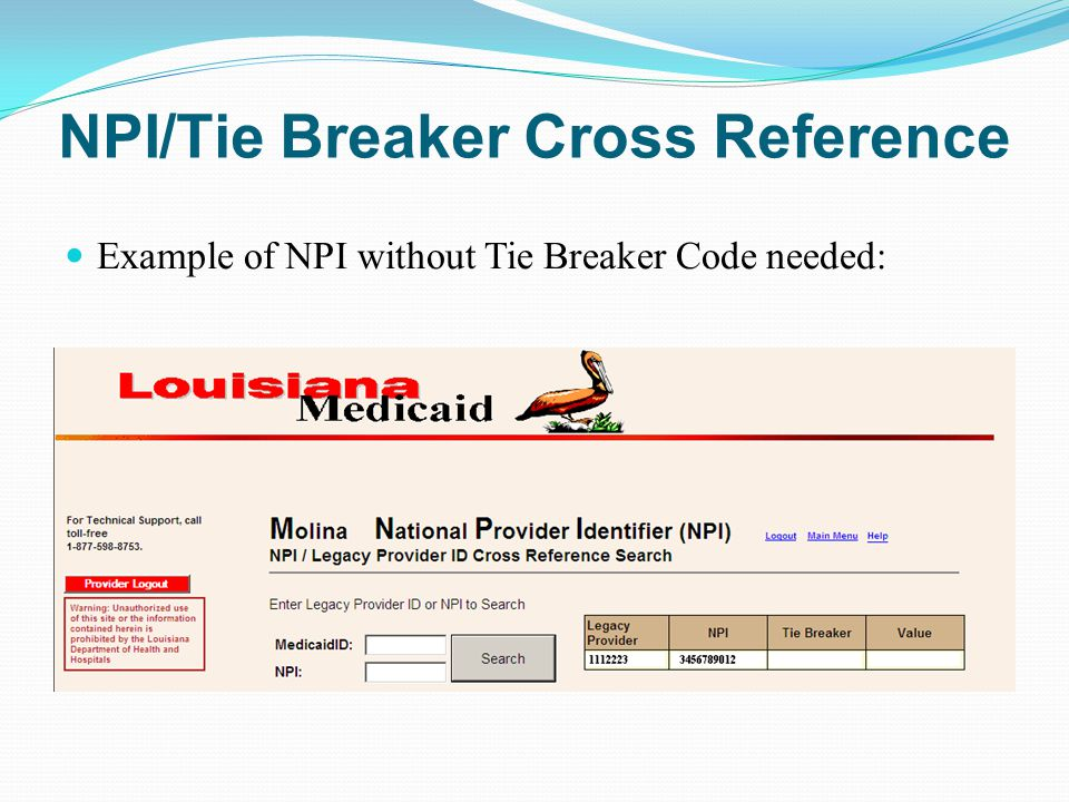 NPI/Tie Breaker Cross Reference Example of NPI without Tie Breaker Code needed: