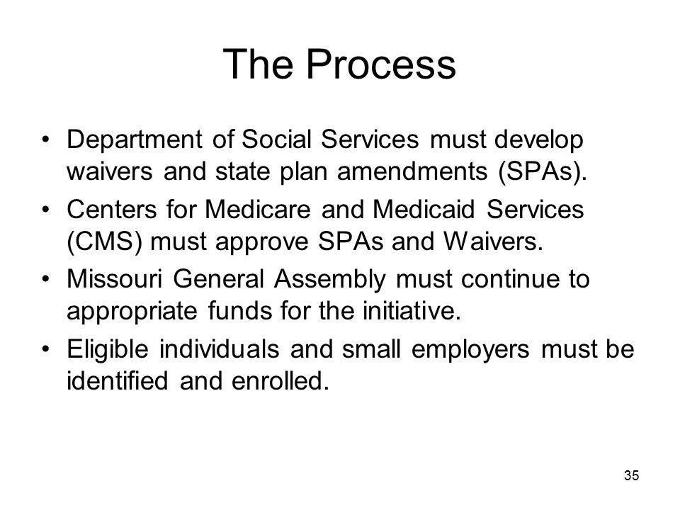 35 The Process Department of Social Services must develop waivers and state plan amendments (SPAs). Centers for Medicare and Medicaid Services (CMS) m