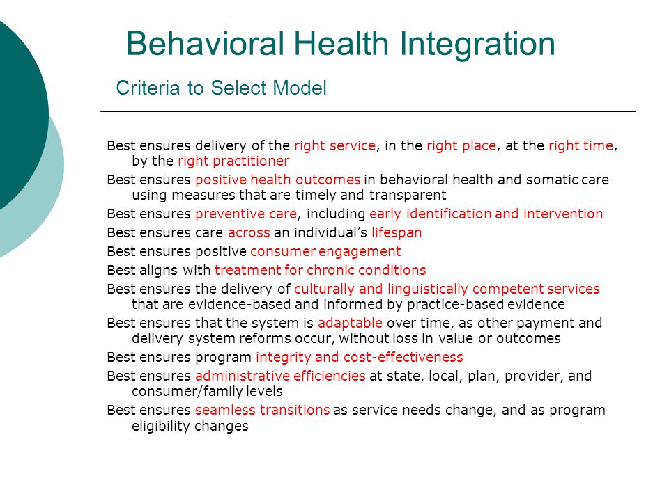 Model 1: Protected Carve-In (recommended in consultant report)  Medicaid-financed behavioral health benefits would be managed by Medicaid managed care organizations (MCOs) through a protected carve ‐ in .