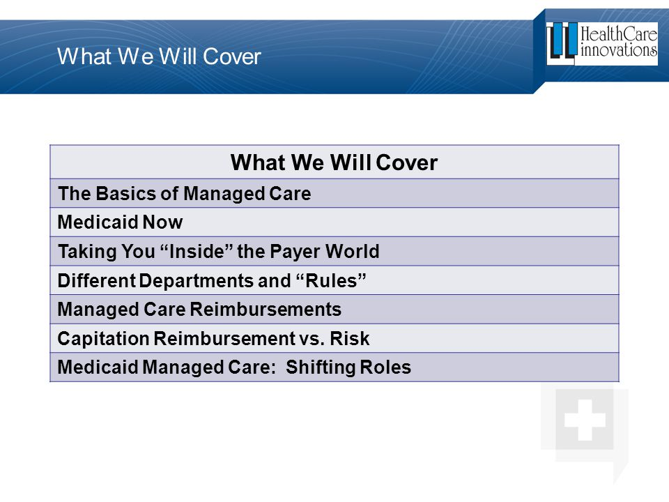 """The Basics of Managed Care Medicaid Now Taking You """"Inside"""" the Payer World Different Departments and """"Rules"""" Managed Care Reimbursements Capitation R"""