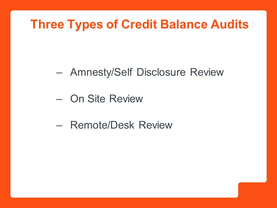 Three Types of Credit Balance Audits –Amnesty/Self Disclosure Review –On Site Review –Remote/Desk Review