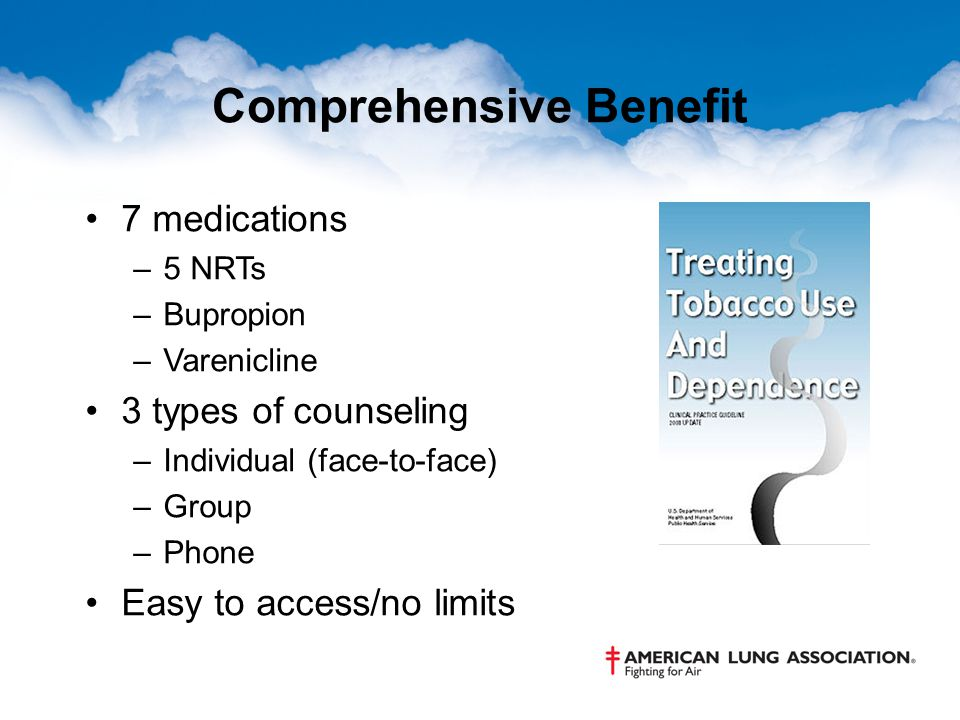 Comprehensive Benefit 7 medications –5 NRTs –Bupropion –Varenicline 3 types of counseling –Individual (face-to-face) –Group –Phone Easy to access/no limits