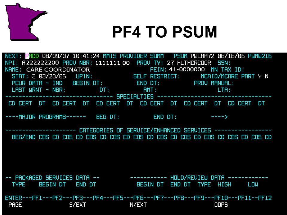 PF4 TO PSUM