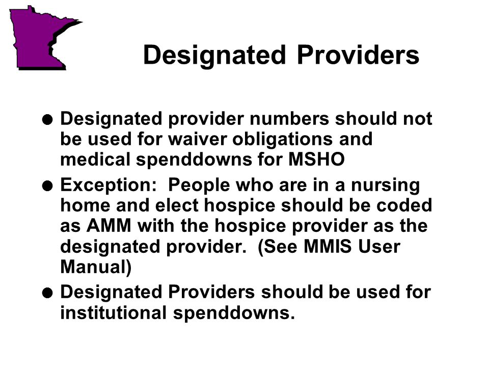Designated Providers l Designated provider numbers should not be used for waiver obligations and medical spenddowns for MSHO l Exception: People who are in a nursing home and elect hospice should be coded as AMM with the hospice provider as the designated provider.