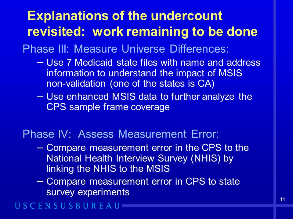 11 Explanations of the undercount revisited: work remaining to be done Phase III: Measure Universe Differences: – Use 7 Medicaid state files with name and address information to understand the impact of MSIS non-validation (one of the states is CA) – Use enhanced MSIS data to further analyze the CPS sample frame coverage Phase IV: Assess Measurement Error: – Compare measurement error in the CPS to the National Health Interview Survey (NHIS) by linking the NHIS to the MSIS – Compare measurement error in CPS to state survey experiments