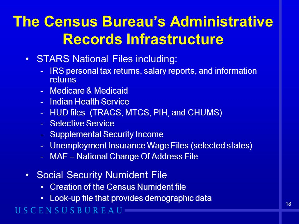 18 The Census Bureau's Administrative Records Infrastructure STARS National Files including: -IRS personal tax returns, salary reports, and information returns -Medicare & Medicaid -Indian Health Service -HUD files (TRACS, MTCS, PIH, and CHUMS) -Selective Service -Supplemental Security Income -Unemployment Insurance Wage Files (selected states) -MAF – National Change Of Address File Social Security Numident File Creation of the Census Numident file Look-up file that provides demographic data