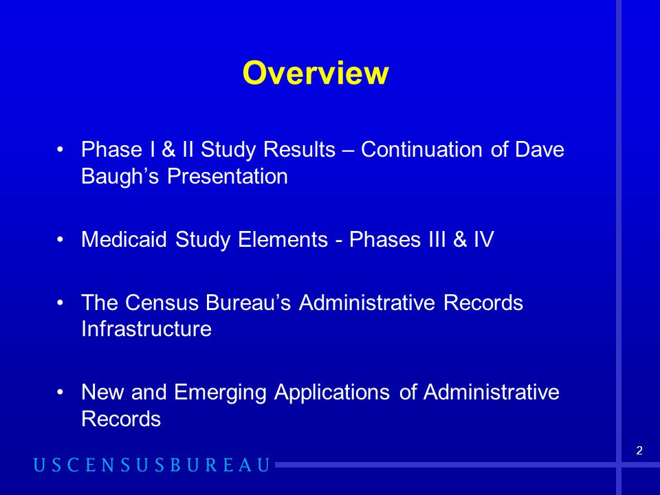 2 Overview Phase I & II Study Results – Continuation of Dave Baugh's Presentation Medicaid Study Elements - Phases III & IV The Census Bureau's Admini