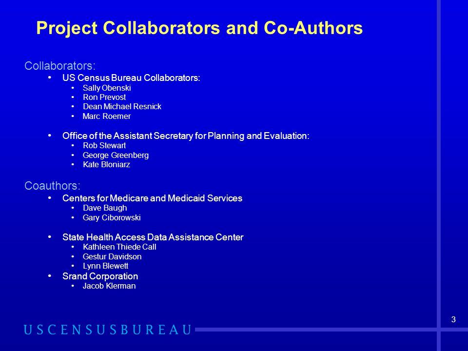 3 Project Collaborators and Co-Authors Collaborators: US Census Bureau Collaborators: Sally Obenski Ron Prevost Dean Michael Resnick Marc Roemer Offic