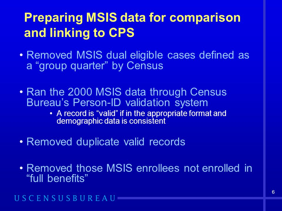 6 Preparing MSIS data for comparison and linking to CPS Removed MSIS dual eligible cases defined as a group quarter by Census Ran the 2000 MSIS data through Census Bureau's Person-ID validation system A record is valid if in the appropriate format and demographic data is consistent Removed duplicate valid records Removed those MSIS enrollees not enrolled in full benefits