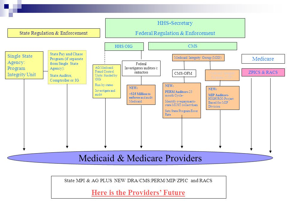 Medicaid & Medicare Providers HHS OIG State Pay and Chase Program (if separate from Single State Agency): State Auditor, Comptroller or IG Single State Agency: Program Integrity Unit State MPI & AG PLUS NEW DRA/CMS:PERM/MIP/ZPIC and RACS Here is the Providers' Future HHS-Secretary Federal Regulation & Enforcement CMS State Regulation & Enforcement AG Medicaid Fraud Control Units: funded by OIG Run by states Investigate and audit Federal Investigators/auditors/c ontractors NEW: +$25 Million to enforce and audit Medicaid Medicaid Integrity Group (MIG) Medicaid Integrity Program (MIP) CMS-OFM NEW: PERM Auditors-23 month Cycle- Identify overpayments- state MUST collect them Sets State/Program Error Rate NEW: MIP Auditors- HIGH ROI-Project Based for MIP Division ZPICS & RACS Medicare