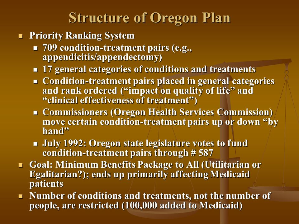 Structure of Oregon Plan Priority Ranking System Priority Ranking System 709 condition-treatment pairs (e.g., appendicitis/appendectomy) 709 condition-treatment pairs (e.g., appendicitis/appendectomy) 17 general categories of conditions and treatments 17 general categories of conditions and treatments Condition-treatment pairs placed in general categories and rank ordered ( impact on quality of life and clinical effectiveness of treatment ) Condition-treatment pairs placed in general categories and rank ordered ( impact on quality of life and clinical effectiveness of treatment ) Commissioners (Oregon Health Services Commission) move certain condition-treatment pairs up or down by hand Commissioners (Oregon Health Services Commission) move certain condition-treatment pairs up or down by hand July 1992: Oregon state legislature votes to fund condition-treatment pairs through # 587 July 1992: Oregon state legislature votes to fund condition-treatment pairs through # 587 Goal: Minimum Benefits Package to All (Utilitarian or Egalitarian ); ends up primarily affecting Medicaid patients Goal: Minimum Benefits Package to All (Utilitarian or Egalitarian ); ends up primarily affecting Medicaid patients Number of conditions and treatments, not the number of people, are restricted (100,000 added to Medicaid) Number of conditions and treatments, not the number of people, are restricted (100,000 added to Medicaid)