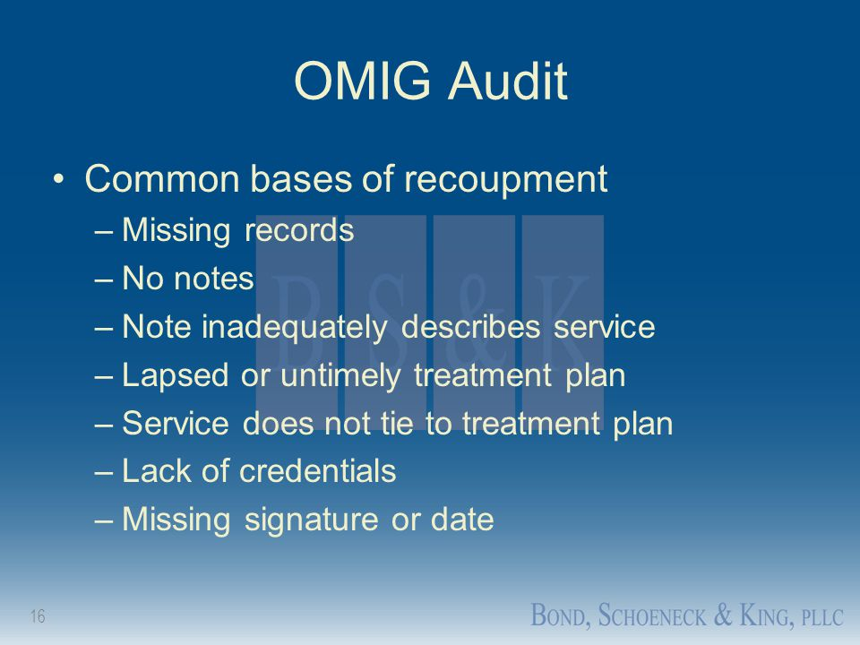 16 OMIG Audit Common bases of recoupment –Missing records –No notes –Note inadequately describes service –Lapsed or untimely treatment plan –Service d