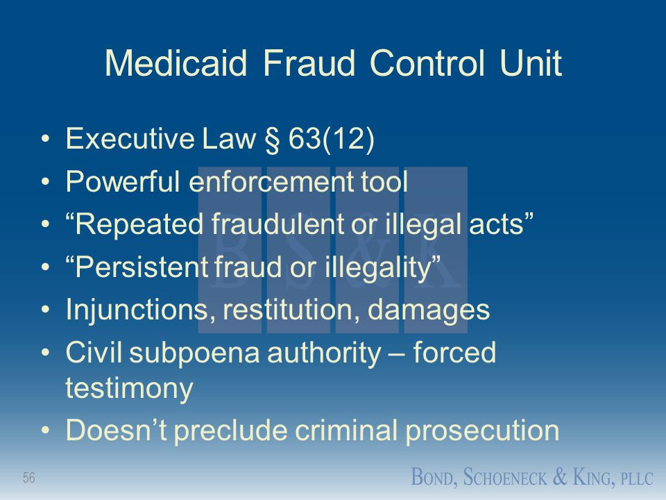 "56 Medicaid Fraud Control Unit Executive Law § 63(12) Powerful enforcement tool ""Repeated fraudulent or illegal acts"" ""Persistent fraud or illegality"""