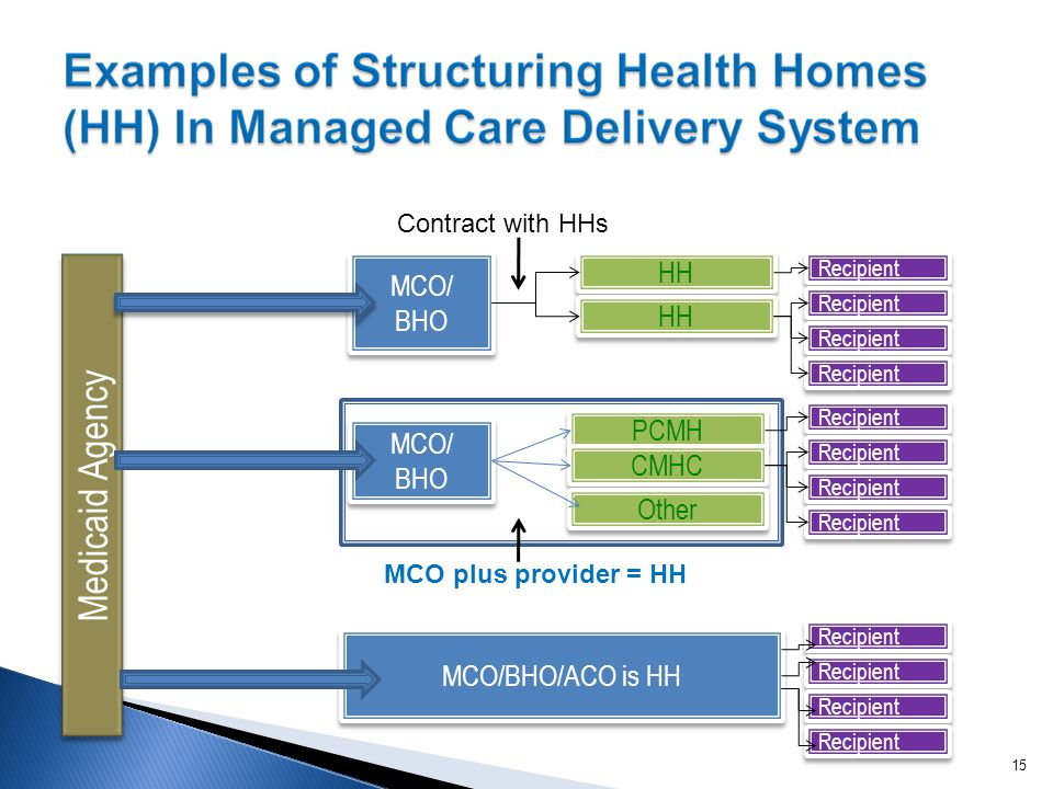 HH MCO/ BHO MCO/ BHO Recipient PCMH CMHC MCO/ BHO MCO/ BHO Recipient Medicaid Agency Other MCO plus provider = HH Contract with HHs MCO/BHO/ACO is HH