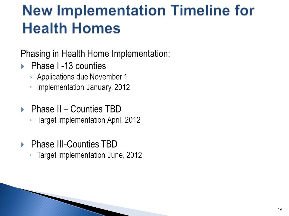 19 Phasing in Health Home Implementation:  Phase I -13 counties ◦ Applications due November 1 ◦ Implementation January, 2012  Phase II – Counties TB