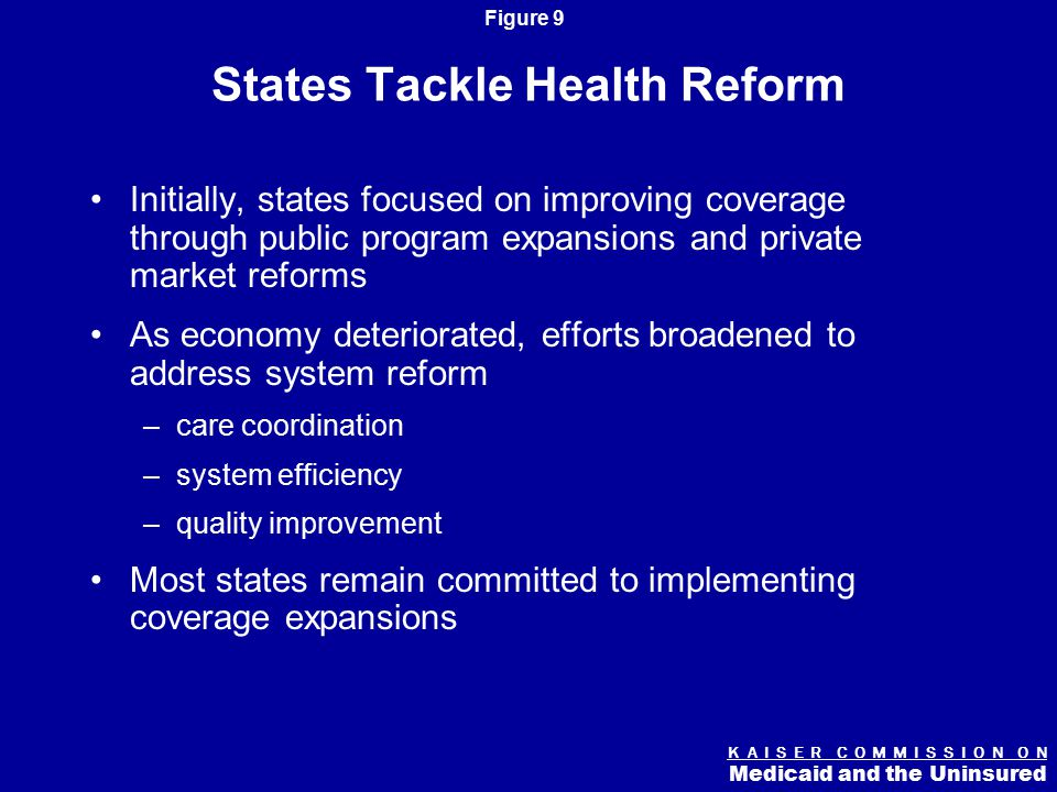 K A I S E R C O M M I S S I O N O N Medicaid and the Uninsured Figure 9 States Tackle Health Reform Initially, states focused on improving coverage through public program expansions and private market reforms As economy deteriorated, efforts broadened to address system reform –care coordination –system efficiency –quality improvement Most states remain committed to implementing coverage expansions