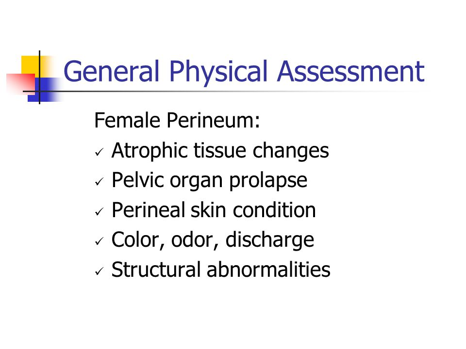 General Physical Assessment Female Perineum: Atrophic tissue changes Pelvic organ prolapse Perineal skin condition Color, odor, discharge Structural a