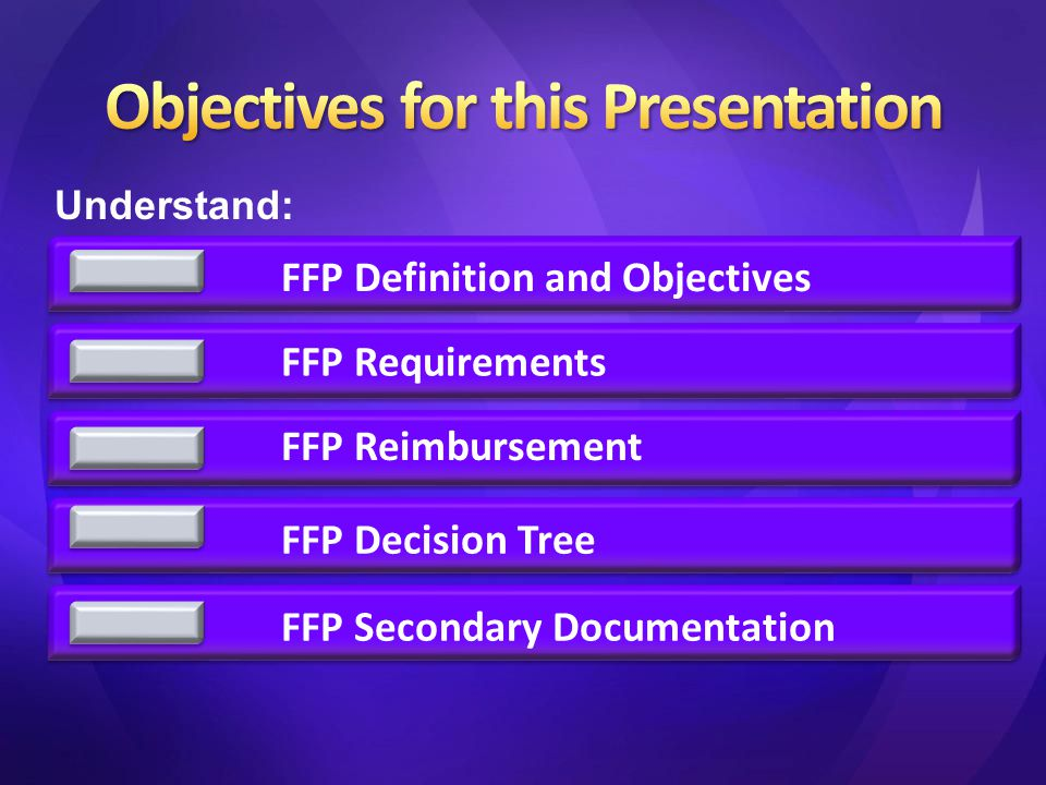 FFP Definition and Objectives FFP Requirements FFP Reimbursement FFP Decision TreeFFP Secondary Documentation Understand: