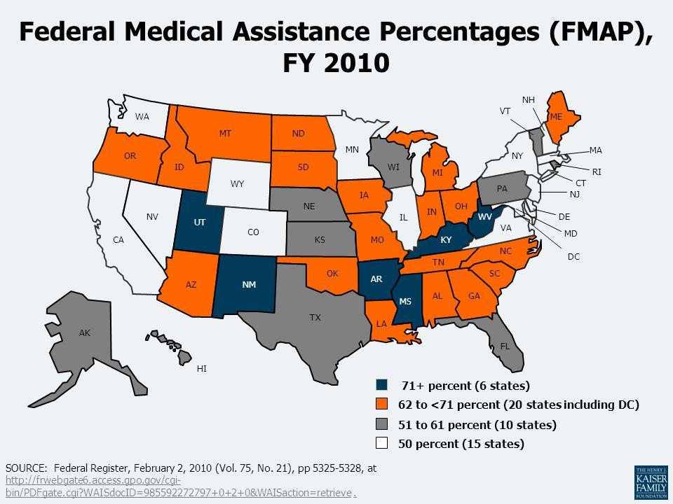 VA Federal Medical Assistance Percentages (FMAP), FY 2010 AZ AR MS LA WA MN ND WY ID UT CO OR NV CA MT IA WI MI NE SD ME MOKS OH IN NY IL KY TN NC NH