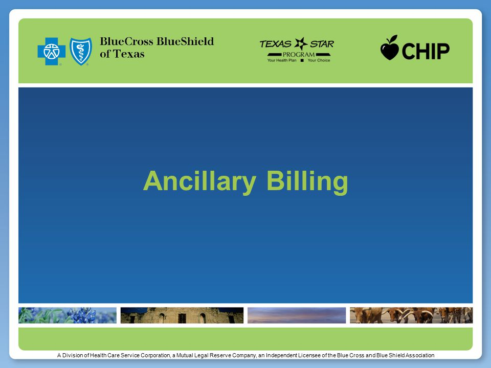 A Division of Health Care Service Corporation, a Mutual Legal Reserve Company, an Independent Licensee of the Blue Cross and Blue Shield Association Ancillary Billing