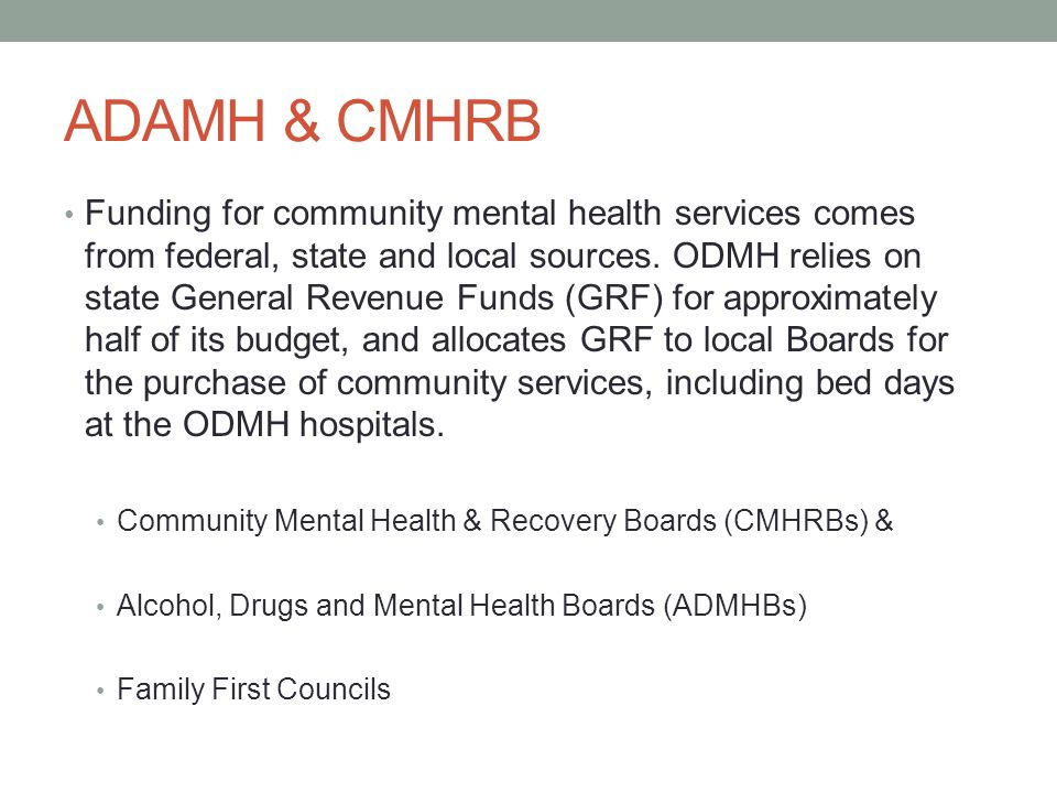 ADAMH & CMHRB Funding for community mental health services comes from federal, state and local sources. ODMH relies on state General Revenue Funds (GR