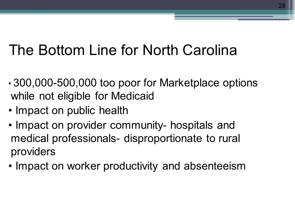 The Bottom Line for North Carolina 300,000-500,000 too poor for Marketplace options while not eligible for Medicaid Impact on public health Impact on provider community- hospitals and medical professionals- disproportionate to rural providers Impact on worker productivity and absenteeism 28