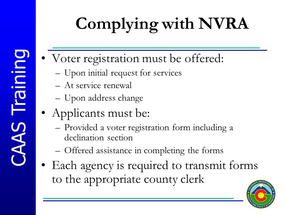 CAAS Training Agency-Based Voter Application