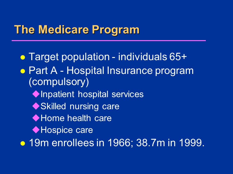 The Medicare Program l Target population - individuals 65+ l Part A - Hospital Insurance program (compulsory) uInpatient hospital services uSkilled nursing care uHome health care uHospice care l 19m enrollees in 1966; 38.7m in 1999.