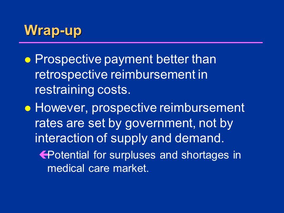 Wrap-up l Prospective payment better than retrospective reimbursement in restraining costs.