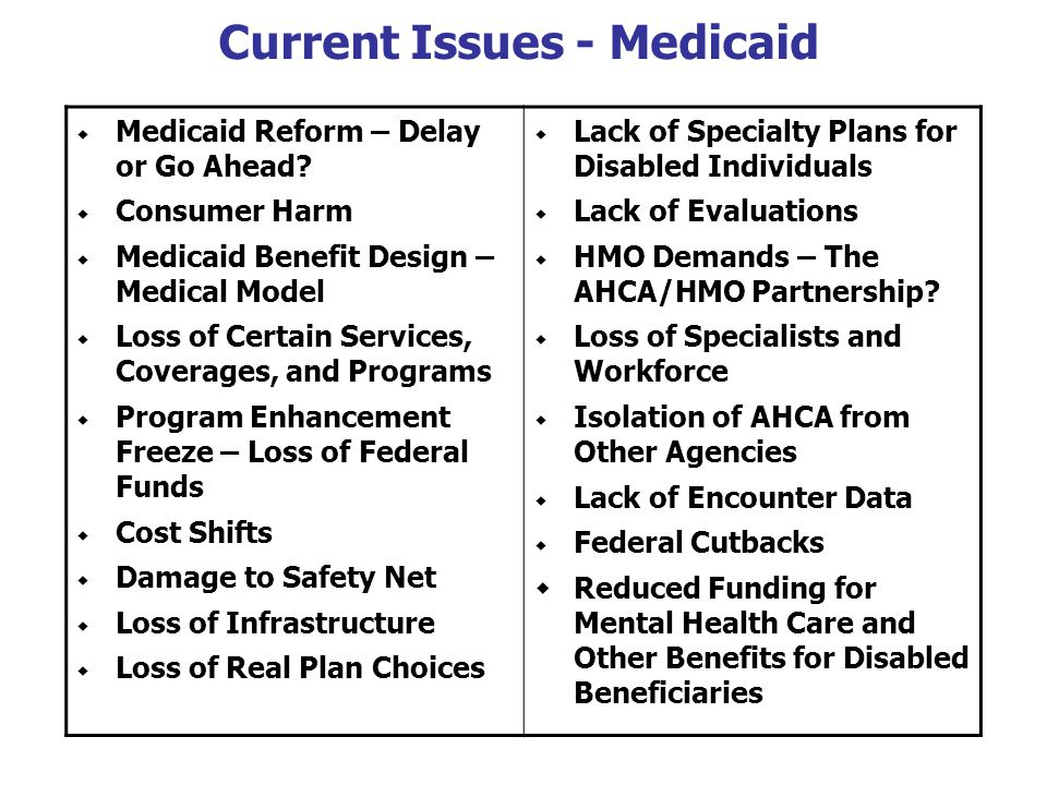 Current Issues - Medicaid  Medicaid Reform – Delay or Go Ahead.